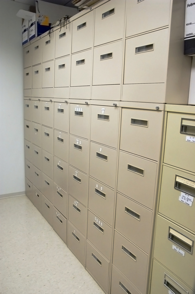 Office cabinets in a narrow room